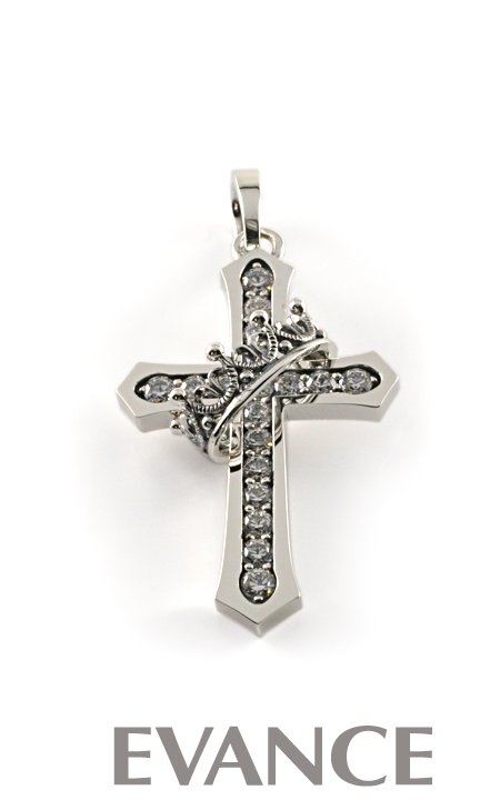 JUSTIN DAVIS ジャスティン デイビス [ペンダント] CROSS with CROWN/STONE Pendant(クリア) SPJ122-1